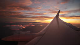 Fiery Sunset from an airplane
