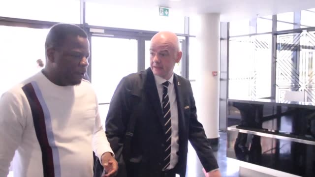 fifa boss gianni infantino uefa's alexander ceferin and other officials arrive at the kigali convention center for a fifa council meeting in rwanda - fifa stock videos & royalty-free footage