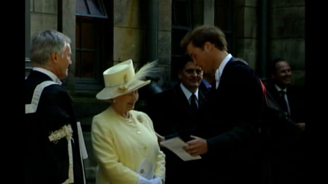 Fife St Andrews St Andrews University EXT Prince William greets his grandmother Queen Elizabeth II with kisses on the cheek at time of his graduation...