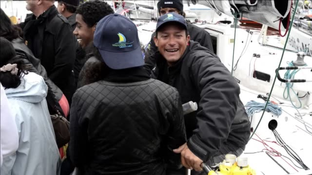 stockvideo's en b-roll-footage met fifteen sailing duos including two women set off from concarneau on the french west coast for the start of the 12th edition of the transat ag2r... - franse overzeese gebieden