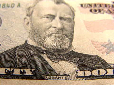 vídeos y material grabado en eventos de stock de ecu, r/f, fifty dollar bill - ulysses s grant
