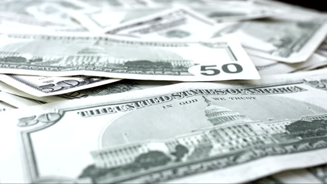 Fifty Dollar Bills Rotating