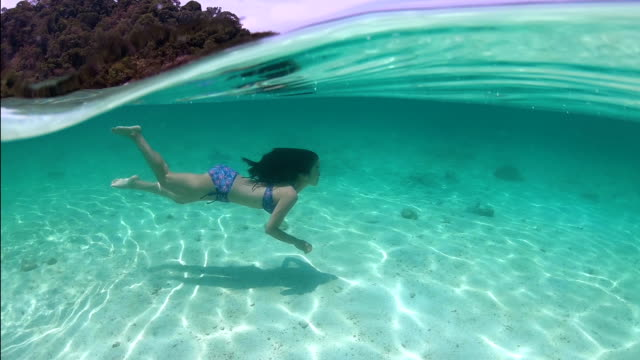 stockvideo's en b-roll-footage met onderwater, fiftyfifty, onder/boven: mooi meisje of aziatische vrouw met lange zwarte haren onderwater zwemmen in de oceaan - in het water duiken