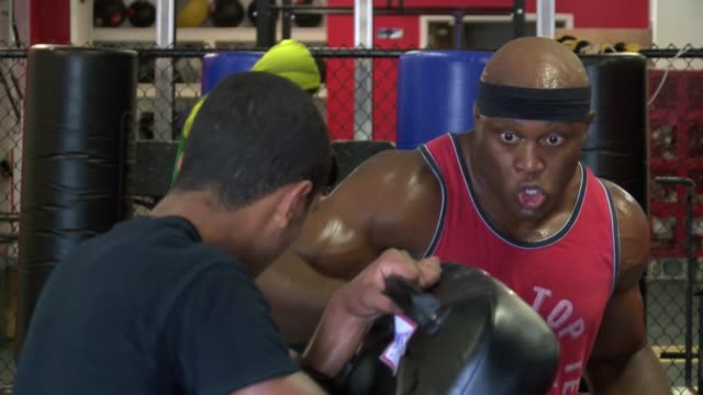 MMA fighter Bobby Lashley training for a heavyweight fight on the Bellator 138 card / Lashley went to MMA from WWE where he was on featured cards...