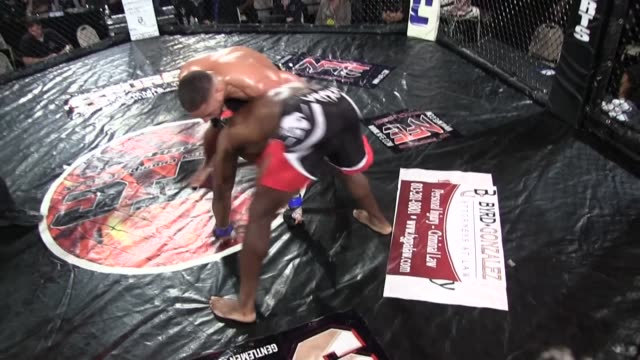 vídeos y material grabado en eventos de stock de / fighter in yellow trunks standing on top of his opponent on the ring floor mercilessly punching him until referee stops the fight - oficial deportivo