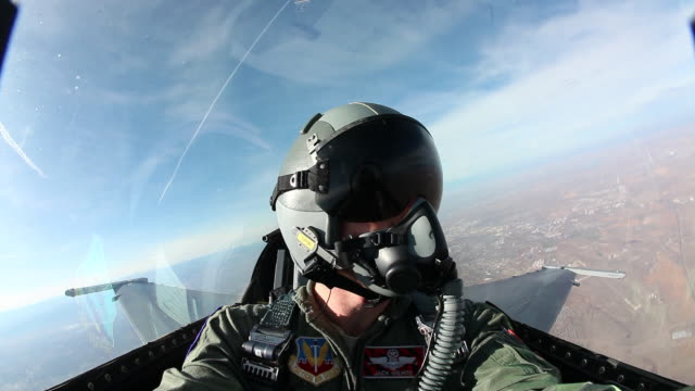 ws f-16 fighter jet cockpit during flight, colorado, usa - work helmet stock videos & royalty-free footage