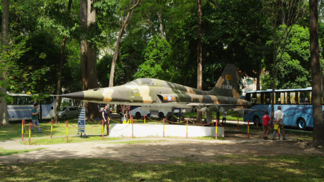 fighter jet in the park of reunification palace - cordon boundary stock videos & royalty-free footage