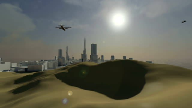 fighter jets attacking a city in the desert - supersonic airplane stock videos and b-roll footage
