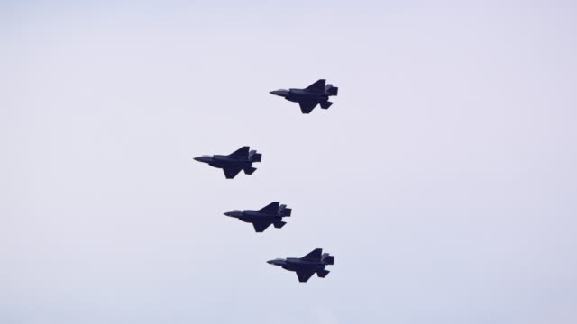 f35 fighter jets flying in formation high in the sky - fighter stock videos & royalty-free footage