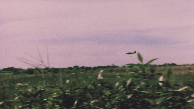 vidéos et rushes de ts fighter plane launching air strike and explosion in its wake / tay ninh vietnam - terrorisme