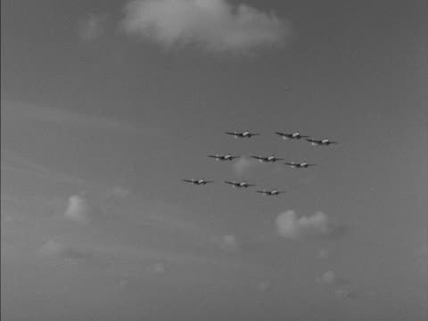 fighter planes fly in formation over the deck of the ark royal - formationsfliegen stock-videos und b-roll-filmmaterial