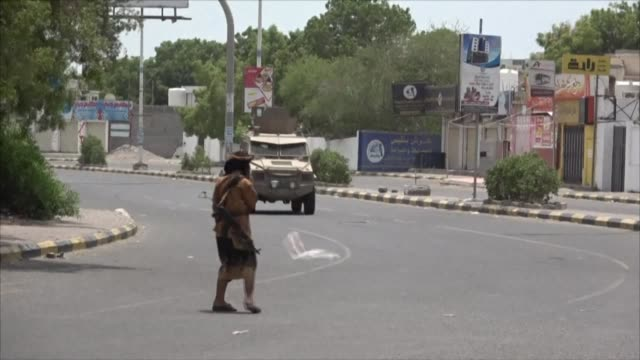 fighters of the southern transitional council are deployed near the site of a suicide bombing that killed three separatists in the sheikh saad... - south stock videos & royalty-free footage