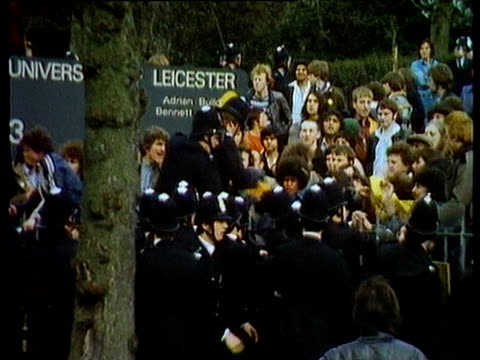 fighting breaks out during antinazi league rally as police use dogs in attempt to quell unrest university of leicester 1979 - placard stock videos & royalty-free footage