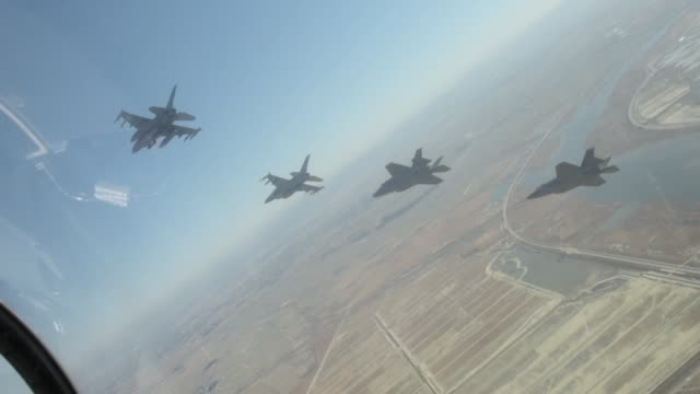 Fighting Falcons based at Kunsan Air Base and F35 Lightning II's from Hill Air Base conduct flight training over South Korea