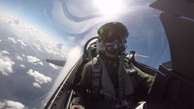 fighting falcon's cockpit footage during takeoff in flight and landing - general dynamics f 16 falcon stock videos & royalty-free footage