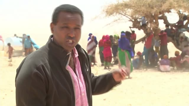 british aid helping thousands of people; somalia: eastern somaliland: ext people standing near tree for shelter in strong winds group of people... - dust storm stock videos & royalty-free footage