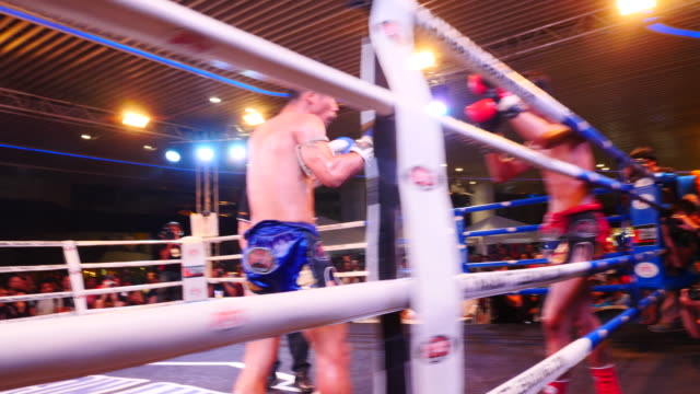 fights compete at mbk mall for muay thai evening matches in bangkok - muay thai stock videos and b-roll footage