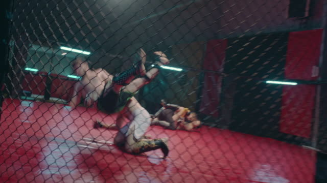 mma fights in octagon. two training fights - octagon stock videos & royalty-free footage