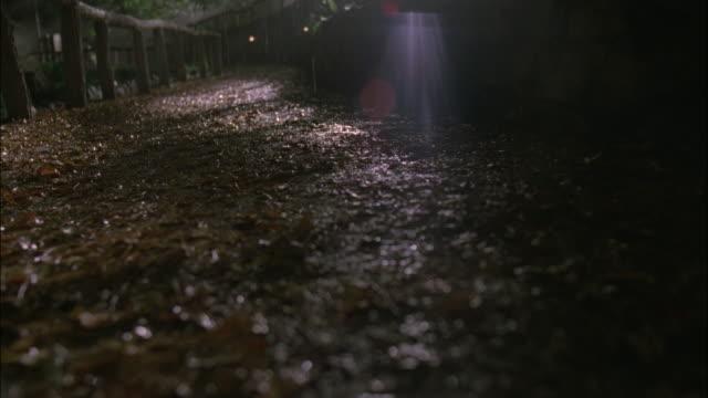 POV Figure running along trail on a foggy night