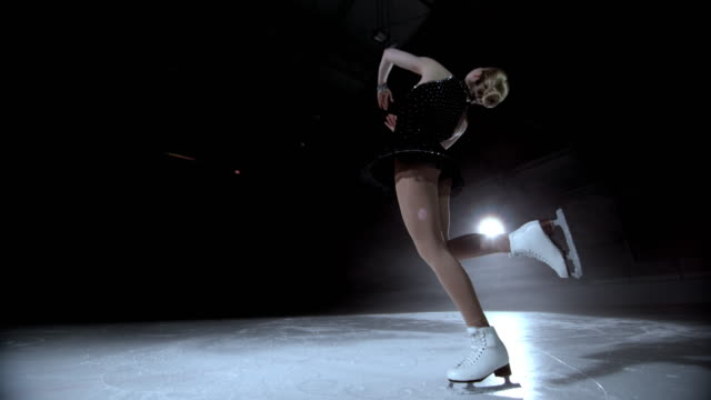slo mo ds figure skater in a layback spin variation - ice skating stock videos and b-roll footage