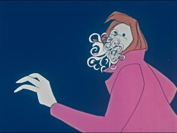 "vídeos y material grabado en eventos de stock de 1969/1970 animation figure smoking joint / smoke turning into the word ""myths"" / audio - psicodélico"