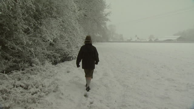 figure walks through snow covered field, away from camera, west sussex, england - west sussex stock videos & royalty-free footage