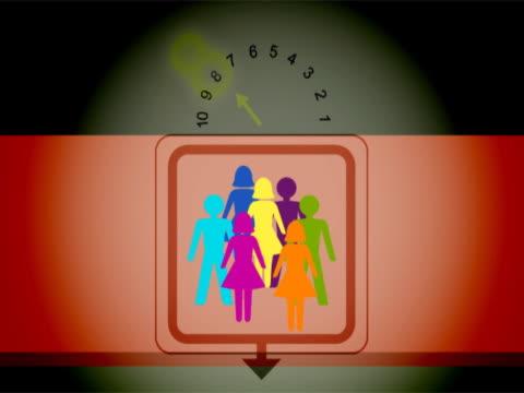 vídeos y material grabado en eventos de stock de figures of people getting off on every floor in an elevator - número 9