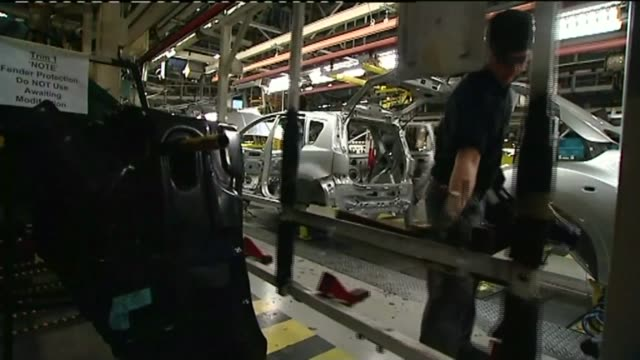 GDP figures suggest interest rate rise more likely LIB / Washington Nissan car plant INT Various shots of workers working on production line at...