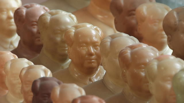 cu figurines of mao zedong in rows / shanghai, china - mao stock videos and b-roll footage