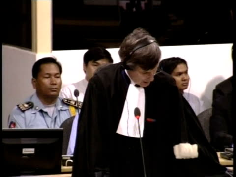 file footage of kaing guek eav better known as duch appearing at the unbacked war crimes court in february 2009 phnom penh cambodia - war crimes trial stock videos and b-roll footage