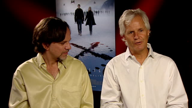 'x files i want to believe' film chris carter and frank spotniz interview frank spotnitz and chris carter interview sot on the plot outline of the... - science fiction film stock videos & royalty-free footage