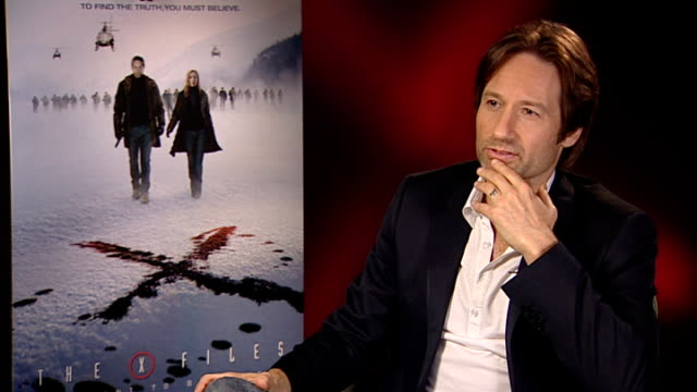 'X Files I Want to Believe' film David Duchovny interview ENGLAND London INT David Duchovny interview SOT What to expect from the movie the story of...