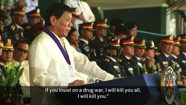 filipino police kill 32 in one night of operations rodrigo duterte speech sot if you insist on a drug war - speech stock videos & royalty-free footage