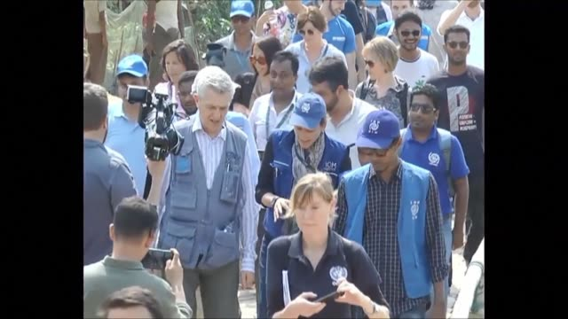 filippo grandi high commissioner at the unhcr visits rohingya camps in bangladesh and announces the assessment of 1000 abandoned rohingya villages in... - rohingya culture stock videos and b-roll footage