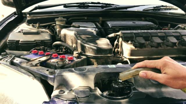 stockvideo's en b-roll-footage met water in de radiator van de auto opvullen - motorkap