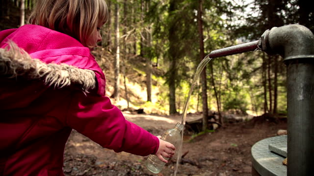 stockvideo's en b-roll-footage met hd: filling bottle with mineral water in forest - vullen