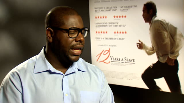 '12 years a slave' interviews mcqueen interview sot - the machine: master or slave filmtitel stock-videos und b-roll-filmmaterial
