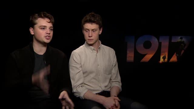 stockvideo's en b-roll-footage met '1917' deancharles chapman george mackay and sam mendes junket interviews england london int deancharles chapman and george mackay interview sot - george mackay