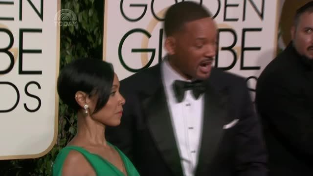 vidéos et rushes de oscars criticised for lack of diversity; lib january 2016 int will smith and wife jada pinkett-smith posing on arrival at golden globe awards - golden globe awards