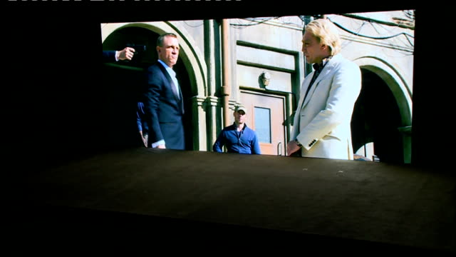24th james bond film to be called 'spectre': cast unveiled; england: london: pinewood studios: int countdown clock running on screen, stops at 00.07... - sam mendes stock videos & royalty-free footage