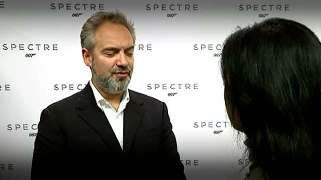 vídeos de stock, filmes e b-roll de 24th james bond film to be called 'spectre'; sam mendez interview sot - i'm excited / it feels like a natural progression from skyfall, not the same... - série de filmes do james bond