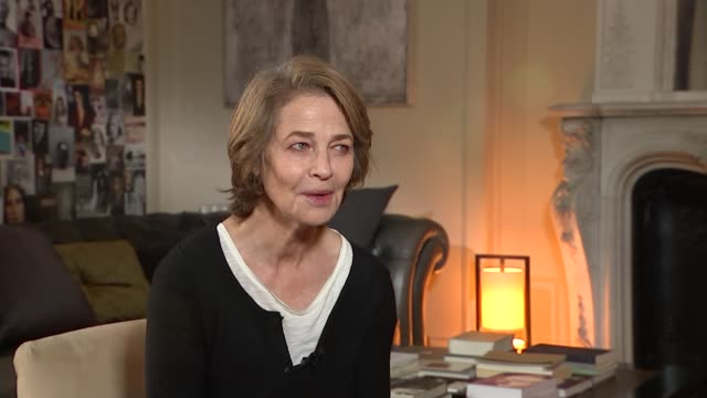 charlotte rampling interview; charlotte rampling interview sot/ montage of photographs and images on wall - charlotte rampling stock videos & royalty-free footage