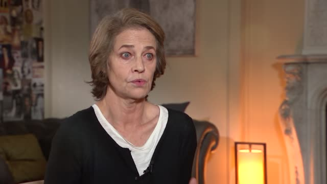charlotte rampling interview; rampling interview sot - on her reaction to the paris attacks / importance of having more of a civic nature / on rise... - charlotte rampling stock videos & royalty-free footage