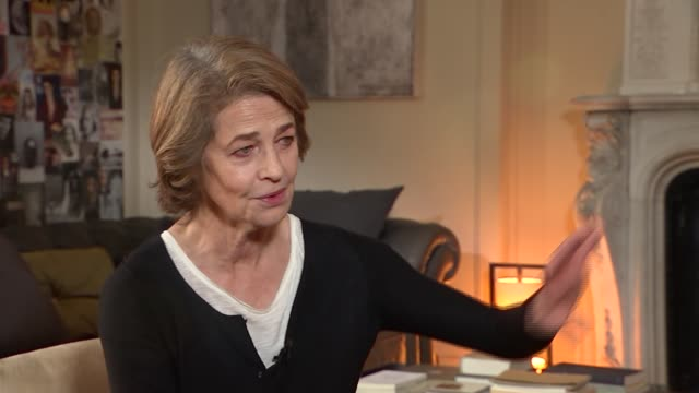 charlotte rampling interview; rampling interview sot -on being able to continue working / set-up shots with reporter - charlotte rampling stock videos & royalty-free footage