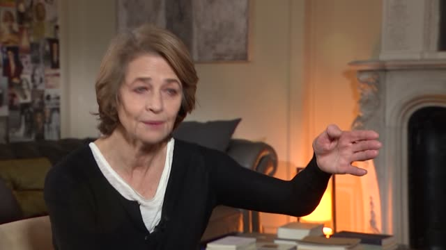 charlotte rampling interview; rampling interview sot - love to do more good stuff / on choosing to do art house movies / not difficult to get roles... - charlotte rampling stock videos & royalty-free footage