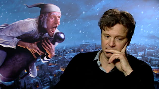 'A Christmas Carol' premiere Interview with actor Colin Firth ENGLAND London INT Colin Firth interview SOT On filming 'A Christmas Carol' / On the...