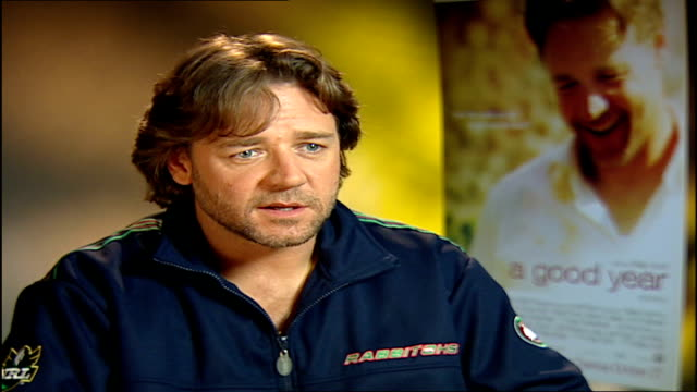 'a good year' russell crowe interview crowe interview sot discusses the problems of filming the film - russell crowe stock videos & royalty-free footage