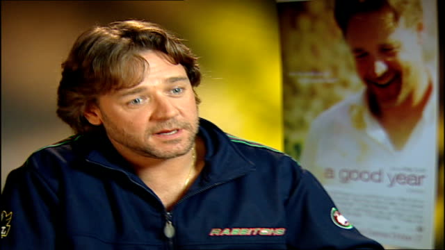 'a good year' russell crowe interview russell crowe interview sot we spent the smallest end of the schedule as we could filming in london the largest... - russell crowe stock videos & royalty-free footage