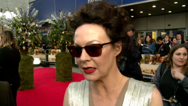 stockvideo's en b-roll-footage met 'a little chaos' premiere winslet rickman and mccrory posing together / helen mccrory interview sot / winslet speaking to press / kate winslet... - signeren
