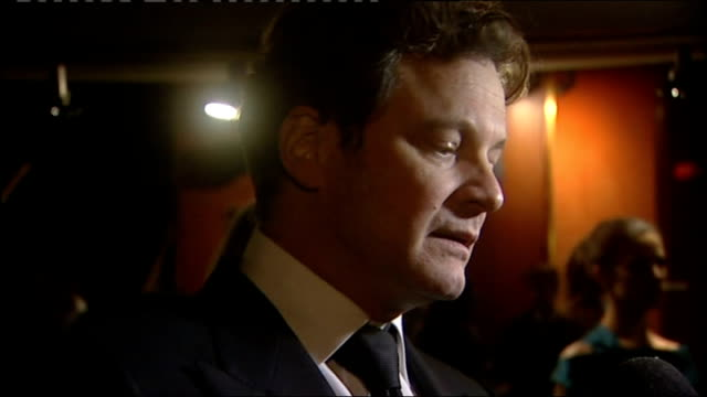 vídeos de stock, filmes e b-roll de 'a single man' premiere interviews england london ext colin firth speaking to press sot on the plot of 'a single man' / whether he is hoping for an... - colin firth
